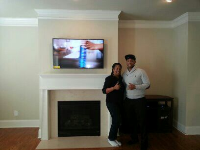 over fireplace flat screen tv installation Lawrenceville ga
